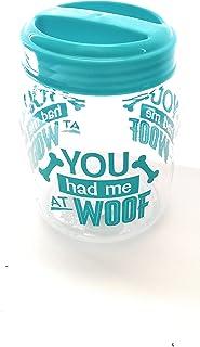 Shanny Network 塑料密封狗宠物零食和食品储存罐,1 个蓝色和白色带骨印,You had me at WOOF.