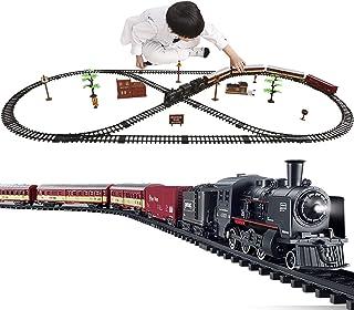 电动经典火车套装,带蒸汽机车引擎,货运车和轨道,电池供电玩具套装玩具带烟雾,灯光和声音,非常适合3岁及以上的男孩和女孩。