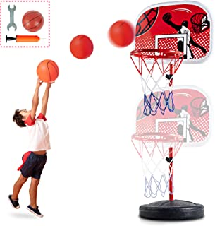 CELETOY 儿童篮球篮筐架,高度可调,3 英尺 - 7 英尺,迷你篮球球门玩具,带球和泵,幼儿篮球篮架,适合男孩女孩 6 岁及以上儿童