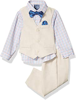 Nautica 诺帝卡男婴 4 件套,搭配正装衬衫、背心、裤子和蝴蝶结领带