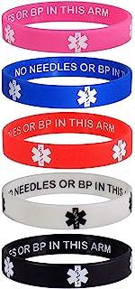 **警报 No NEEDLES OR BP IN THIS ARM *警报 ID 隐私增强腕带 5 件装