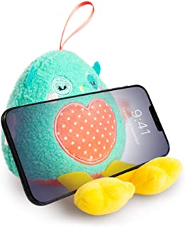 Planet Buddies 毛绒手持器和屏幕清洁器,通用儿童手机支架,手机支架 毛绒玩具,适用于 iPhone,三星,华为等,猫头鹰,*/粉红色