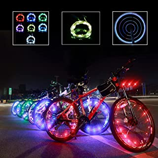 2 件装可充电 USB 自行车轮灯,7 种颜色 18 种模式,自身改变颜色,防水,夜间骑行,超亮,闪光,送礼佳品