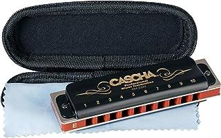 CASCHA 口琴 E大调初学者和高级 I 高品质 10 孔全音口琴 卓越的声音 I 完美保存和护理与蓝色口琴软壳和清洁布