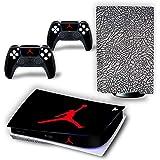 PS5 控制台和控制器皮肤乙烯基贴纸贴花盖适用于 PlayStation 5 控制台和控制器,磁盘版 - Jordan…