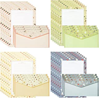 72 件文具纸和信封套装,SUMERSHA 48 张 A5 信纸纸 + 24 件信封,4 种款式漂亮花卉文具套装