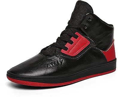 Soulsfeng 男式高帮鞋黑色篮球运动鞋轻质专业防滑运动鞋适用于跑步、散步、黑红色