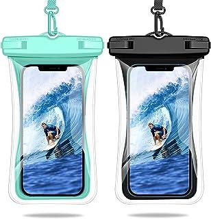 Weuiean 防水手机壳浮动防水手机袋,挂绳手机干燥袋适用于 iPhone 12/11/SE/XS/XR 8/7Plus,三星 S21/20/10/10+/Note,LG,像素高达 6.9 英寸 - 2 包黑色 + 薄荷绿