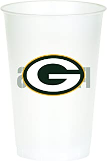 Creative Converting Officially Licensed NFL Printed Plastic Cups, 8-Count, 20-Ounce, Green Bay Packers