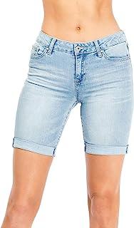 Celebrity Pink 女式中高腰百慕大牛仔短裤