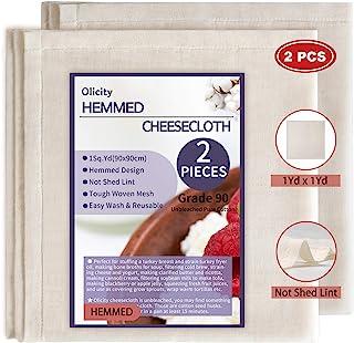 Olicity 芝士布,1 平方码,2 件,90 级卷边奶酪布,可重复使用,可* 未漂白平纹细布,用于过滤、火鸡和家禽 - 万圣节装饰 - 2 件 9 平方英尺