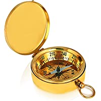 独特的圣诞礼物实心黄铜经典口袋尺寸野营指南针 4.45 厘米登山登山自行车狩猎生存指南针户外导航方向性儿童航行指南针礼品