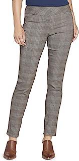 Van Heusen 女式超弹力修身全长套穿裤 棕色格子图案 16