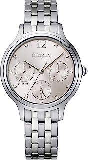 Citizen 西铁城 女式石英不锈钢表带 银色 14 休闲手表(型号:ED8180-52X)