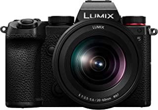 Panasonic 松下 LUMIX S5 全框无反光摄像头,4K 60P 视频录制,带翻转屏幕和 WiFi,LUMIX S 20-60mm F3.5-5.6 镜头,L型安装,5 轴双 I.S,DC-S5KK (黑色)