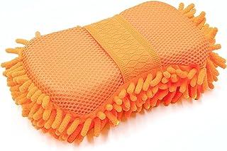 uxcell 轻质超细纤维雪尼尔橙色汽车护理洗涤刷海绵垫清洁剂适用于洗车