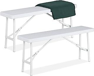 Relaxdays 啤酒长凳 2 件套 可折叠派对长凳 适用于露台和花园,塑料,露营长凳 高宽深:42x100x25 厘米,白色