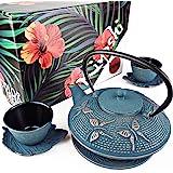 """KIYOSHI Luxury 日式茶具7件套,""""蓝蝴蝶""""铸铁茶壶,带2个茶杯,2个茶碟,活页茶叶浸泡器和茶壶,抹茶礼仪及…"""