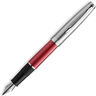 Waterman Emblème 钢笔,红色镀铬饰边,细笔尖带蓝色墨水盒,礼品盒
