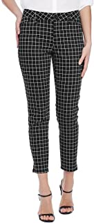 NYDJ CELIA ANKLE TROUSER IN GRID PRINT 黑色弹力缎面 0P