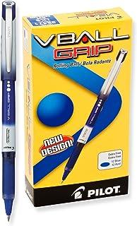 VBall Grip Liquid Ink Roller Ball Stick Pen.7mm, Black Ink, Dozen