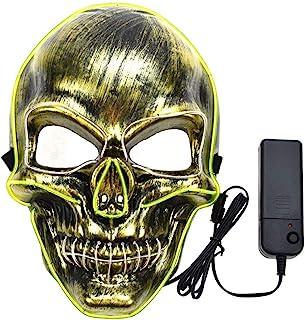 FThinkup 万圣节装饰面具,净化万圣节面具 LED 发光可怕面具,带 EL 线,适用于女士、女孩成人儿童(蓝光+白光)