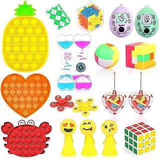 Fidget 玩具套装:18 件装*和抗*玩具,适合儿童和成人 ADHD 添加*自闭* 带拼图球、液体运动计时器、猜蛋玩具和推波泡泡感官玩具