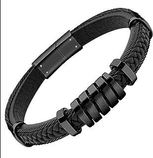 555Jewelry 绞花电缆不锈钢金属和皮革男式手链