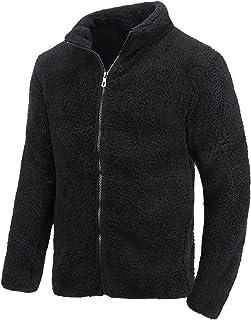 Little Beauty 男式冬季重量级羊毛羊羔绒衬里拉链连帽运动衫夹克 夏尔巴黑 Large
