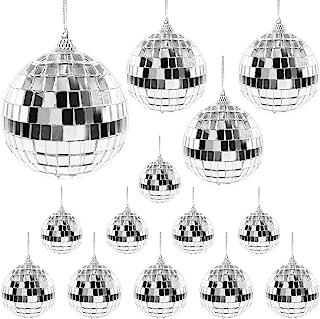14 件镜子迪斯科球装饰银色悬挂迪斯科球旋转玻璃迪斯科球派对装饰不同尺寸的圣诞圣诞树装饰