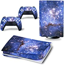 DOMILINA PS5 皮肤贴纸,全身乙烯塑料贴花盖 适用于 Playstation 5 盘版控制台和控制器 - 天蓝色
