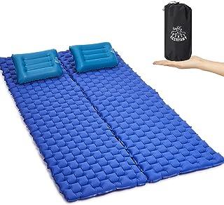 露营自充气睡垫 带可拆卸枕头 超轻耐用防水紧凑空气床垫 终极适用于露营、背包、徒步、帐篷、小巧轻便的气垫,2 件装