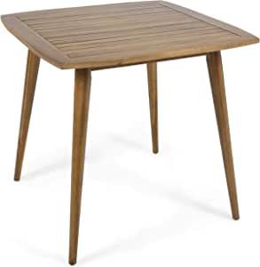 Christopher Knight Home Caleb 室内方形丙烯木餐桌,柚木,饰面