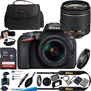 D5600 DX 格式数码单反相机 AF-P DX 尼克尔 18-55mm f/3.5-5.6G VR 镜头,黑色 - 基本配件包