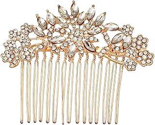 Passat 6 种金色/银色复古新娘发梳适用于婚礼银色水晶新娘发片伴娘礼品 P002