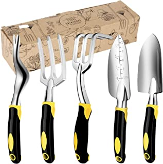 Acecharming 5 件套花园工具套装,花园手工工具套件,带柔软橡胶人体工程学手柄手动工具多肉工具套装
