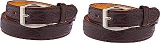 2 件装儿童仿皮双线缝制 2.4 厘米单爪基本皮带 #71(棕色/棕色,小号)