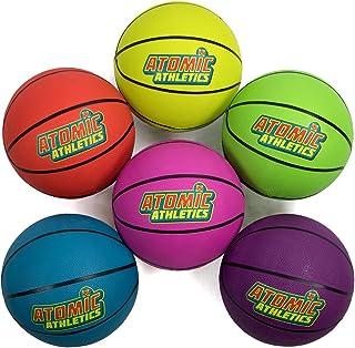 K-Roo Sports 原子运动员 6 个装霓虹橡胶操场篮球 - 青少年 5 号 8.5 英寸的球,带气泵和网状收纳袋