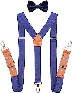 QCWQMYL 吊带蝴蝶结男士燕尾服 Y 型背部支架皮革青铜夹