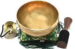 15.24 厘米藏式唱歌碗 ~ Superb B Crown Chakra 碗用于冥想、瑜伽、*、心情、放松和声音*~ 木制框、*方形靠垫、Tingsha Cymbals~尼泊尔手工制作 9