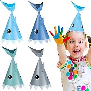 24 件鲨鱼派对帽鲨鱼生日帽锥形帽适合男孩和女孩在海底派对服装配饰,27.94 x 21.94 厘米 4 种颜色