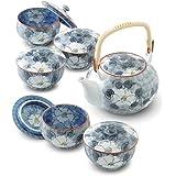 CtoC JAPAN 有田烧 番 茶具套装 (茶壶1个、带盖煎茶杯5人用)02-740285