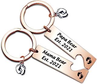怀孕公布礼物爸爸和妈妈 Est 2021 钥匙扣套装新款父母礼物*次妈妈礼物婴儿足迹魅力爸爸作为礼物