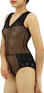 Curve Muse 女式内衣蕾丝娃娃装 V 领连体网状紧身衣睡衣