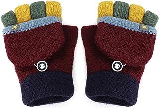 男婴女孩翻盖手套冬季保暖可转换手套保暖无指手套儿童学生半指手套儿童暖手礼物