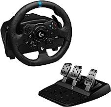 Logitech 罗技 G923 方向盘与踏板模拟配件,适用于Xbox One,兼容PC,英国G型插头,黑色