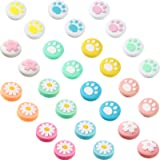 28 Pieces Replacement Cute Cat Paw and Flower Design Thumb G…