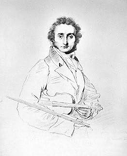 Nicolo Paganini (1782-1840) 丁尼小提琴和作曲线和反曲(头)和蜡笔机雕刻 C1831 由 Luigi Calamatta 创作于 1819 年创作的《画之后》作,Jean Auguste Dominique Ingre...
