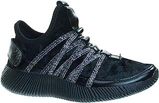 女童运动天鹅绒弹性系带时尚运动鞋,钩环