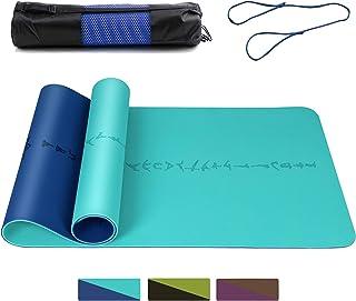 """DAWAY 环保 TPE 瑜伽垫 Y8 宽加厚健身垫防滑抓地力普拉提垫,身体调整系统,防撕裂,带背带,72""""x 26"""" 厚6mm,1 年保修"""